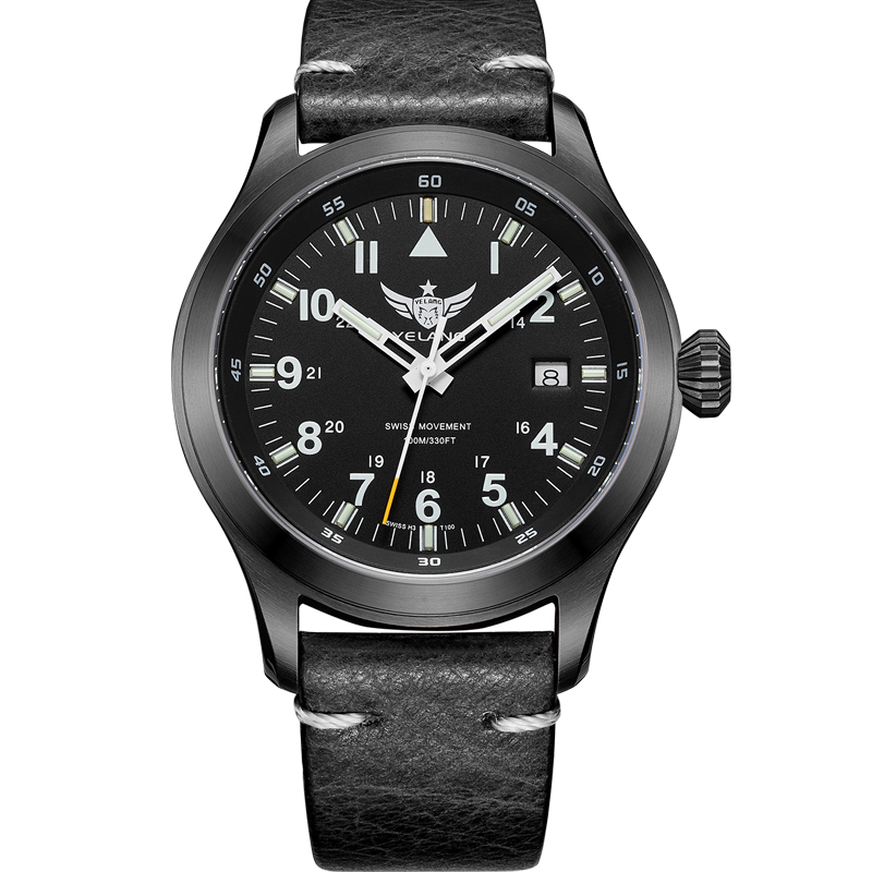 Yelang v1021 aviator serier t100 삼중 수소 튜브 + flourescent numbers 100 m 방수 가죽 스트랩 mens quartz 손목 시계-에서수정 시계부터 시계 의  그룹 2