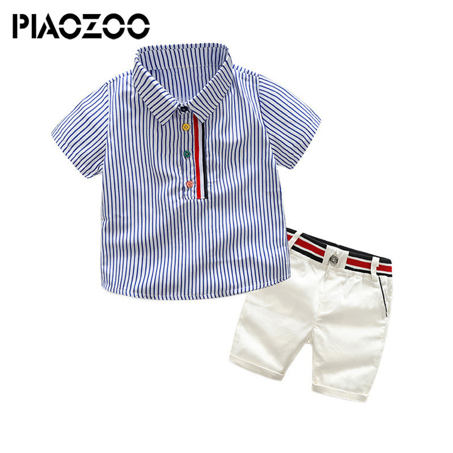2fa866b3cbc7 Little Boys Summer Outfits Stripe Short Sleeve Shirts + White Shorts 2  Piece Gentleman toddler boys Clothes Suit korean fashion