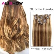 Alishow человеческие волосы для наращивания на заколках, прямые волосы на всю голову, набор 7 шт. 100 г, волосы remy на заколках, человеческие волосы для наращивания