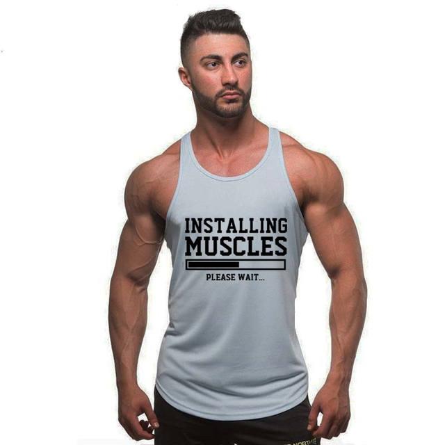 gyms t shirt men fitness cotton tank top
