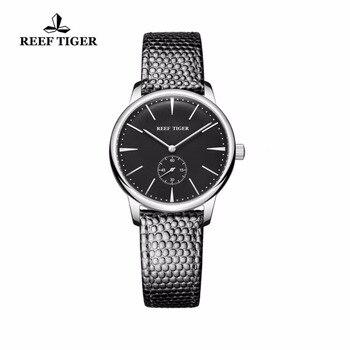 Женские кварцевые часы Reef Tiger/RT, повседневные ультратонкие часы из нержавеющей стали с черным циферблатом, простой стиль, RGA820