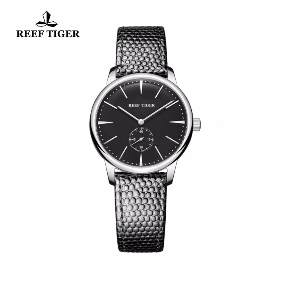 Reef Tiger/RT Casual Couple Watches Ultra Thin Stainless Steel Black Dial Watch Simple Style Quartz Watches for Women RGA820