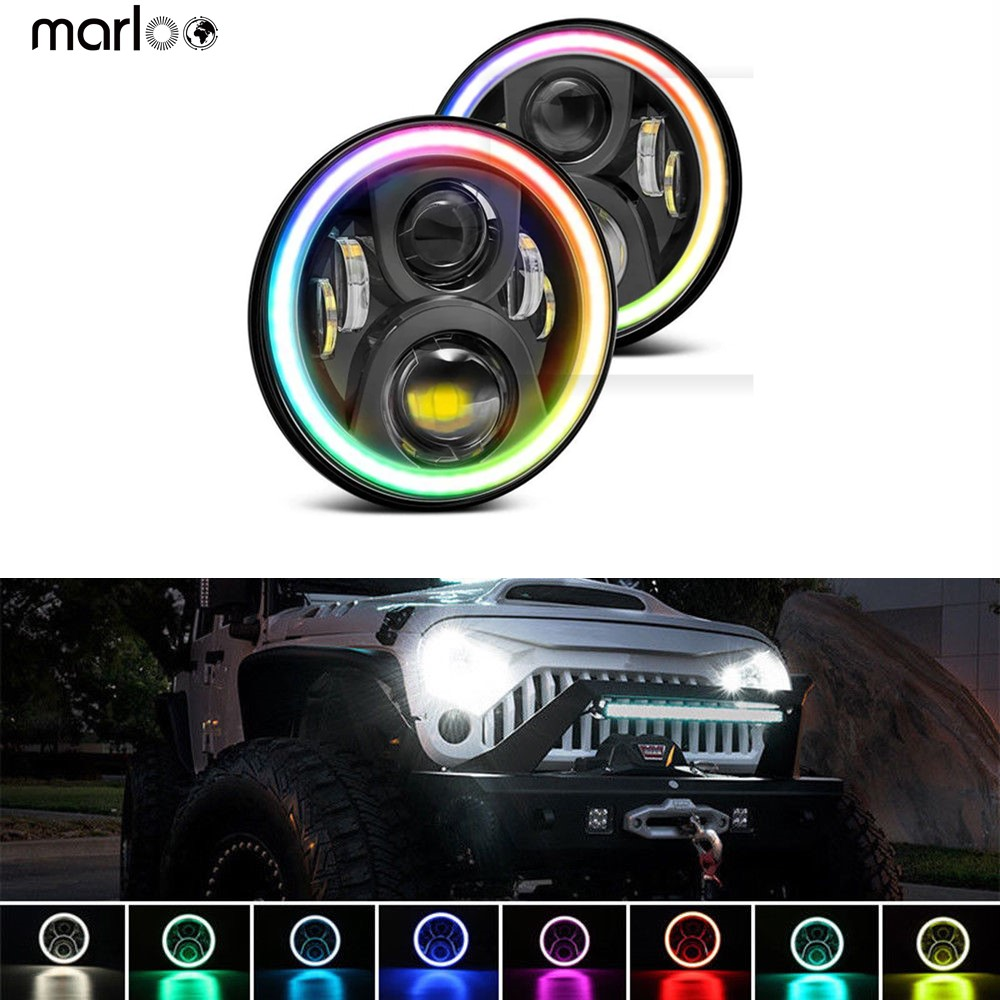 RGB 7 LED Headlight 7 inch Round DRL Headlamp RGB Angel Eye Halo Ring App Bluetooth Controlled for Jeep Wrangler JK LJ CJ TJ 7 led headlights bulb rgb halo angel eye with bluetooth remote for 1997 2016 jeep wrangler jk lj cj hummer h1 h2 headlamp