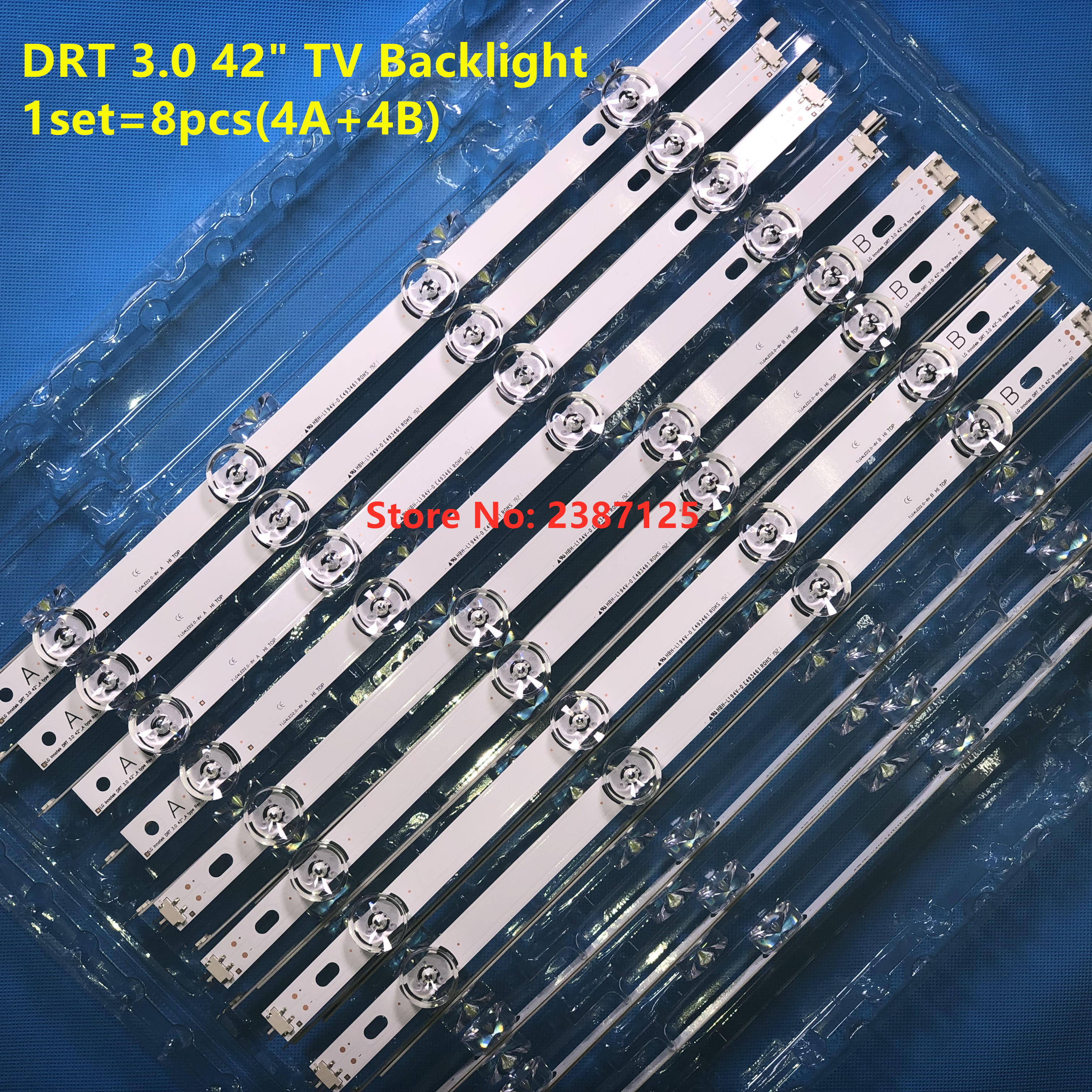 100% New-Original 8 PCS/set LED Backlight Strip Bar For LG LC420DUE 42LB3910 INNOTEK DRT 3.0 42 Inch A B 6916L-1709A 6916L-1710A
