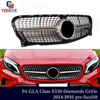 X156 бриллиантами Передняя решетка для Mercedes GLA X156 2014 2015 2016 предрестайлинг Стильный автомобильный бампер решетка сетки