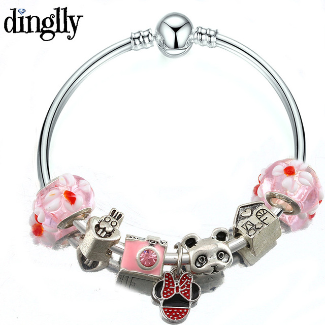 Dinglly Drop Shipping Cute Panda Charm Bracelet Kids Diy Gifts Fashion Jewellery Mickey Pandora For