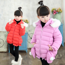 2016 female child winter wadded jacket outerwear thickening winter medium-long thermal gloves cotton-padded jacket child