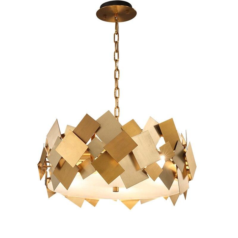 Wongshi современные золото Аппаратные средства Медь подвесной светильник с E14 лампы для столовой Кухня номер фойе подвесные светильники
