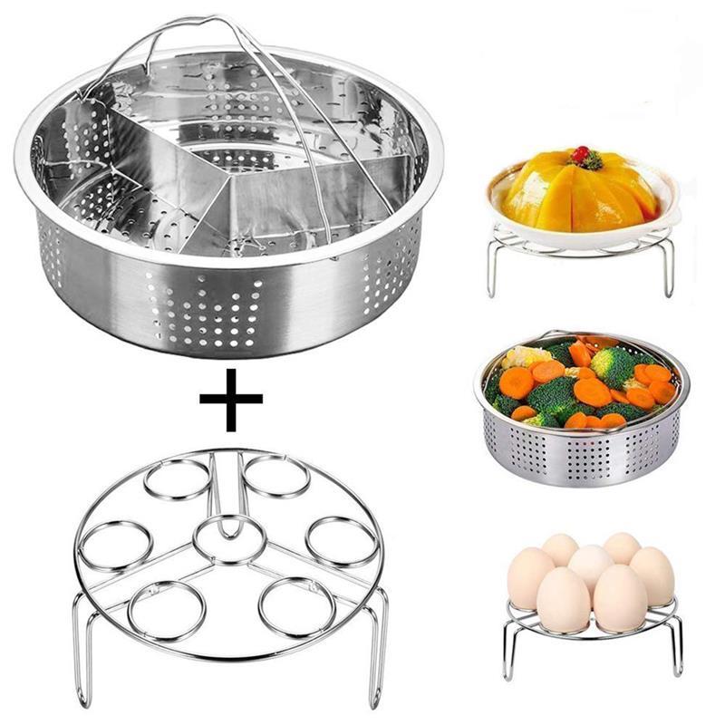 3Pcs/Set Steamer Set Kitchen Dining Instant Pot Accessories Stainless Steel Basket Instant Pot Egg Steamer Rack Set Kitchen Tool