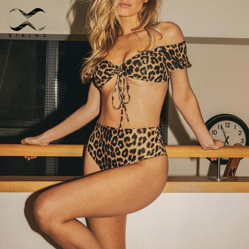 Tiefe V Off Schulter Rot Bikini Hohe Taille push-up Retro bademode frauen 2018 Badeanzug weibliche leopard badeanzug Zwei -stück Anzüge