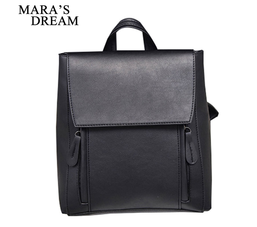 Mara's Dream 2018 Preppy Style Women Backpack Female School Bags High Quality PU Leather Solid Backpacks for Teenagers Girls dizhige brand women backpack high quality pu leather school bags for teenagers girls backpacks women 2018 new female back pack