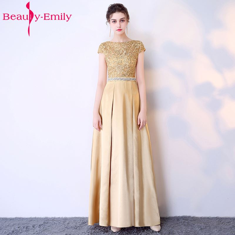 Beauty Emily Fashion Simple Long Red Blue Evening Dresses 2019 Women A-Line Formal Party Girl Prom Dresses For Kids