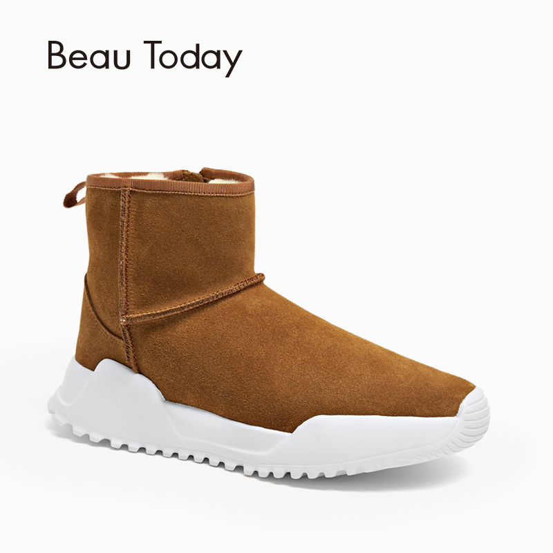 BeauToday Women Snow Boots Brand Top Quality Genuine Leather Cow Suede Zipper Closure Winter Lady Ankle Boots Handmade 08012BeauToday Women Snow Boots Brand Top Quality Genuine Leather Cow Suede Zipper Closure Winter Lady Ankle Boots Handmade 08012