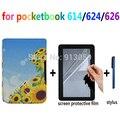Ультра тонкий фолио смарт PU кожаный чехол чехол для Pocketbook basic Сенсорный LUX 614/624/626 электронная книга случае + протектор экрана + стилус