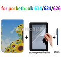 Ultra thin folio smart PU leather cover case for Pocketbook basic Touch LUX 614/624/626 e-book case+screen protector+stylus