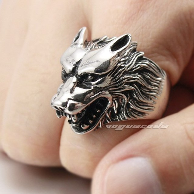 Werewolf Grinning 316L Stainless Steel Wolf Ring 2P001 Mens Biker