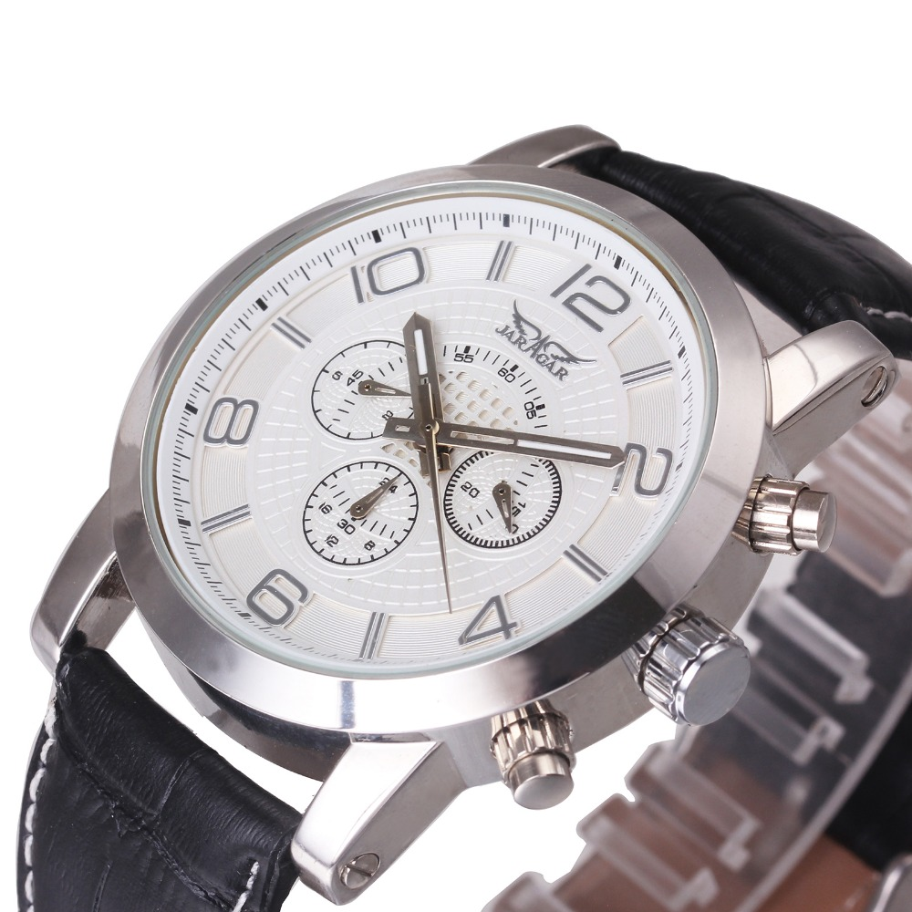 2018 WINNER Men Automatic Mechanical Watch Luminous Hands Male Wristwatch with Working Sub-dial Leather Band Arabic Numerals 2016 winner men automatic mechanical watch tourbillon male wristwatch leather strap luminous hands working sub dials gift box