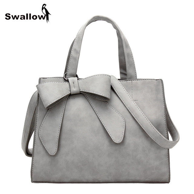 SWALLOW Winter Scrub Bow-Knot Leather Bags Handbags Women Famous Brands Bow Shoulder Bags Women Luxury Designer Bag Ladies