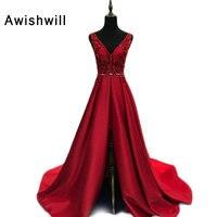 Настоящая фотография Асимметричный рукавов Красный Вечерние платья v образным вырезом с открытой спиной Для женщин Пром торжественное пла