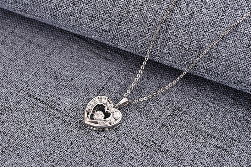 925 sterling silver pendant,heart pendant,dancing cz diamond pendant, sterling silver jewelry ,necklace for women,chain necklace NP30820A (6)