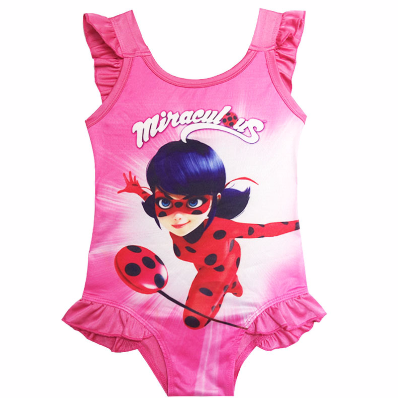Girls Kids Official Miraculous Ladybug Swimwear Swimsuit Swimming Costume