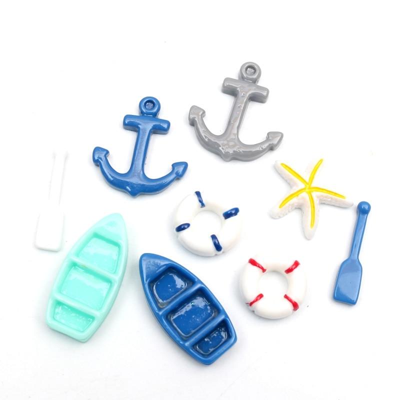 LF 50Pcs Mxed Anchor Resin Decoration Craft Flatback Cabochon Embellishments For Scrapbooking Kawaii Cute Diy Accessories