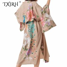 TXJRH Waterfall Maxi Robe Bohemian Ethnic Peacock Floral Print Long Kimono Cardigan Shirt Tied Bow Sashes Blouse Split Hem Tops flower print fringe hem kimono
