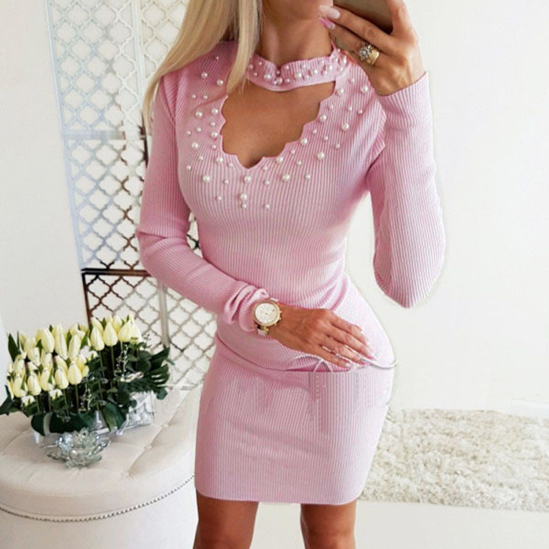 Pearls Beading Bodycon Winter Dress Women Front Hollow Out Long Sleeve Dresses Sexy Sashes Mini Dress Pink Navy Vestidos