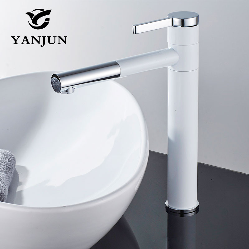 Yanjun Tall Swivel Spout Brass White and Chrome Finish Bathroom Faucet Vanity Vessel Sinks Mixer Cold And Hot Water Tap YJ-6679 golden brass kitchen faucet dual handles vessel sink mixer tap swivel spout w pure water tap
