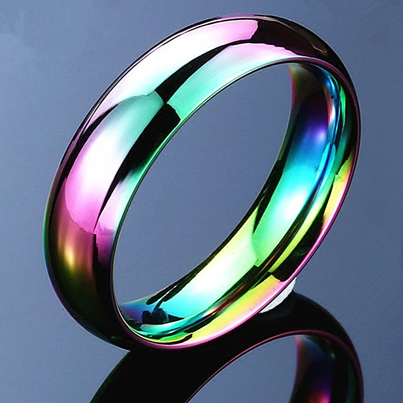 1pcs New Rainbow Color New Stainless Steel Rings Women Fashion Jewelry Wholesale