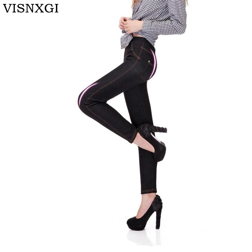 2018 Winter New Women Thicken Legging Fashion Warm Fleeces Inside Denim Pants Footless LeggiJeansngs With Pockets Plus Size