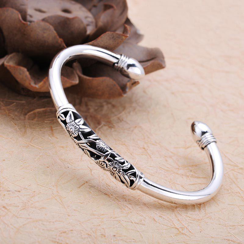 925 Sterling Silver Bracelet Thailand Retro Pure Handwork