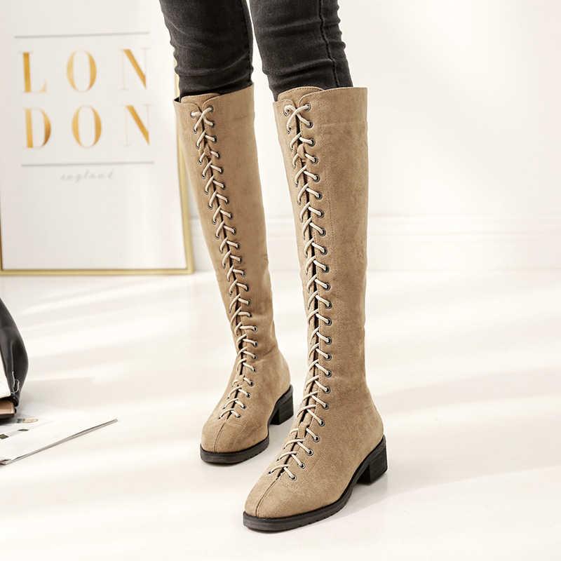 87387a7fcd08 ... Gdgydh 2018 г. новые модные зимние сапоги до колена квадратный каблук  Для женщин ботинки ...