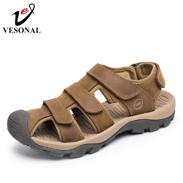 ddf6a6f4536 VESONAL 2018 Summer Style Quality Genuine Leather Male Shoes For Men Sandals  Adult Brand Casual Comfortable Beach Walking Sandal