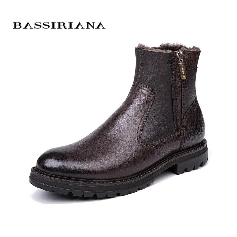 BASSIRIANA الرجال الشتاء الأحذية ، الجلد الطبيعي الأغنام الصوف بطانة ، كبيرة الروسية أحجام 39 45 ، الأسود و البني شحن مجاني-في أحذية برقبة أساسية من أحذية على  مجموعة 1