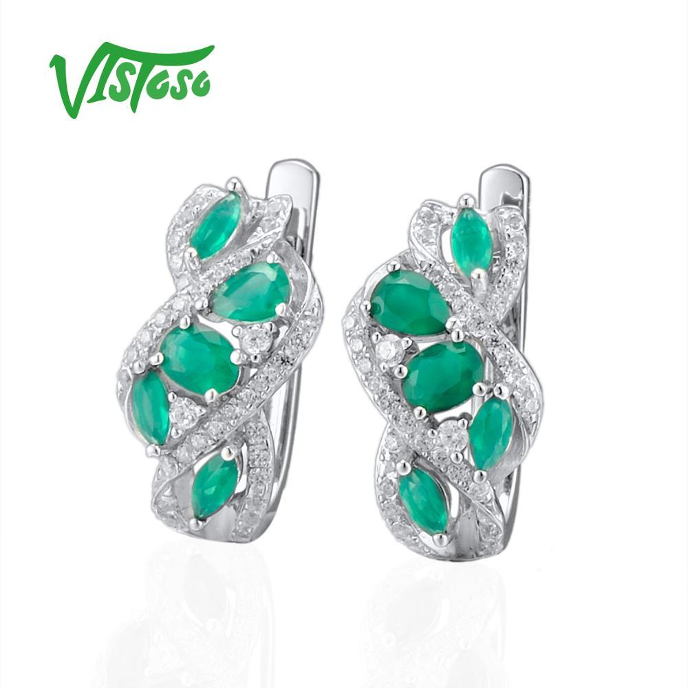 VISTOSO Pear Green Chalcedony 925 Sterling Silver Stud Earrings Jewelry Earrings Natural Green Stones 2018 Fine Stud Earrings-in Earrings from Jewelry & Accessories    2