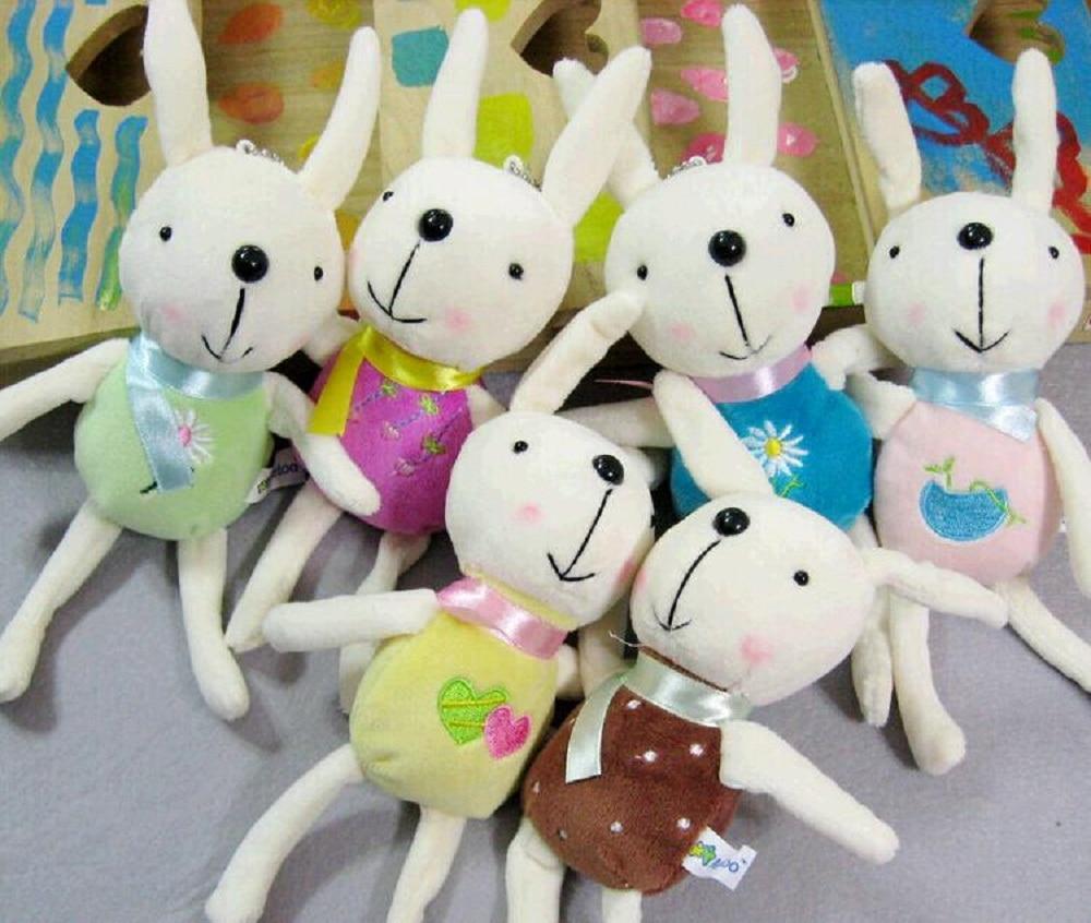 6 Pcslot Height 13cm Cute And Pretty Multi Color Smile Rabbit Plush