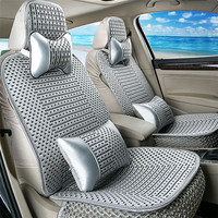 Universal Fit 5 Seats Car Breathable Ice Silk Woven Car Seat Covers Protector Adjustable Removable Auto Seat Cushions
