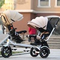 Новый детский трехколесный велосипед с двойным велосипедным сиденьем, детская прогулочная коляска с педалью, заднее сиденье можно лежать
