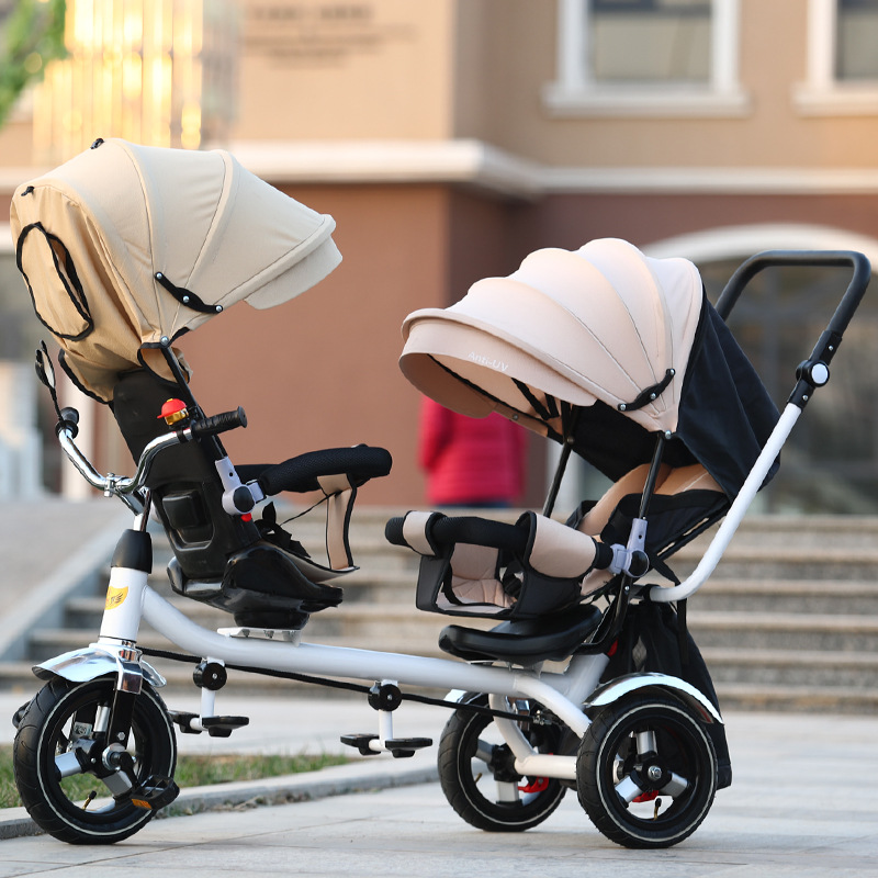 New twins two children tricycle double bike seat baby push pedal baby carriage stroller, back seat can be lie down