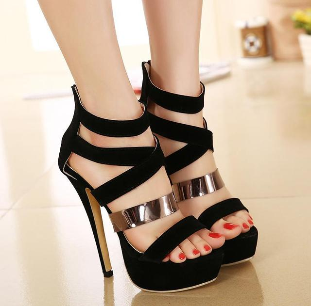 45fbd34e6d1c Roman style women gladiator sandals black metal strap sexy high heel shoes  prom gown party size