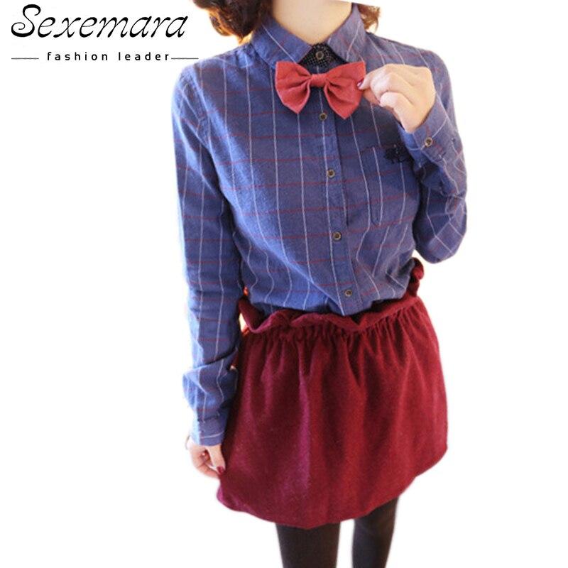 Clásico arco blusas moda camisas de tela escocesa en jaula de las mujeres atract