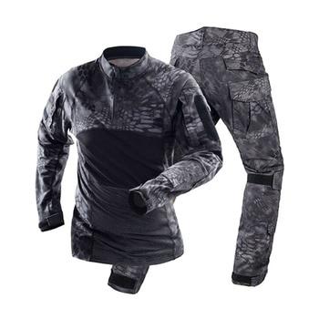 Men's Tactical Military Combat Shirt Cotton Army Assault Camo Long Sleeve T Shirt + Pants