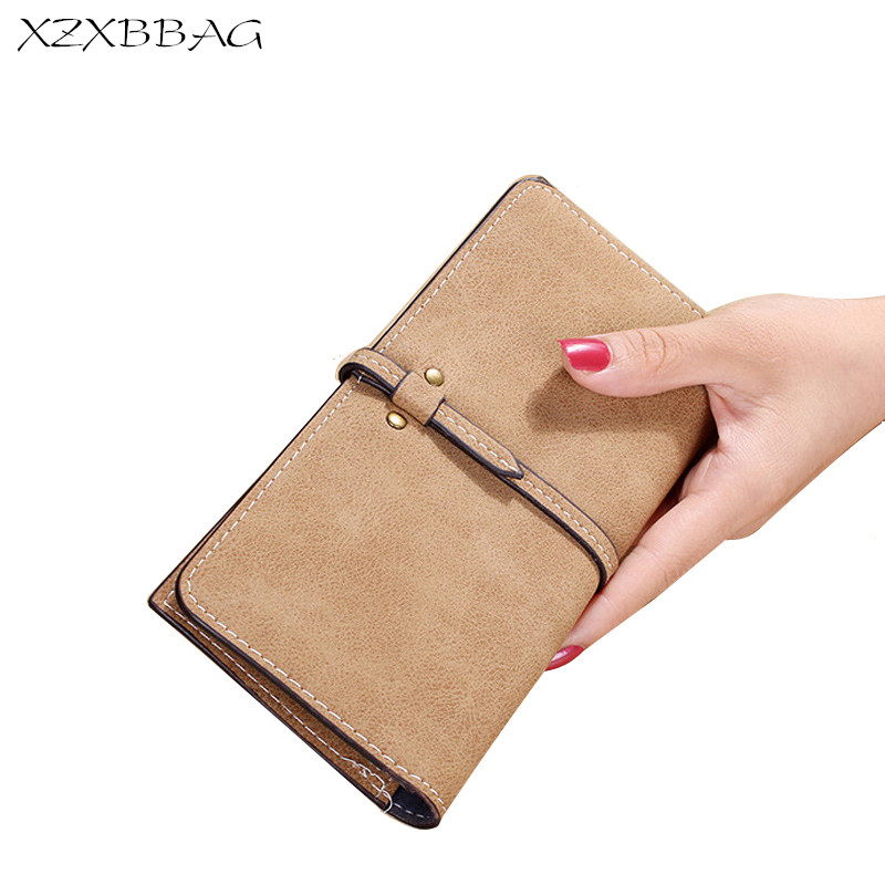 XZXBBAG Fashion Women Long Wallet Multiple Card Holder Coin Purse Ladies Drawnstring Frosted Leather Money Bag Female Handbag simple organizer wallet women long design thin purse female coin keeper card holder phone pocket money bag bolsas portefeuille