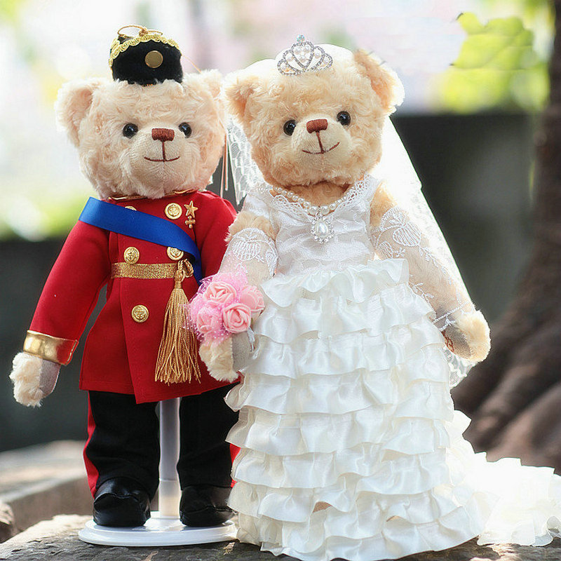35cm A Couple Plush Teddy Bear Lover Dolls Uniforms Wedding Dresses Teddy Bear Jointed Bear Wedding Gift Stuffed Animal Toys