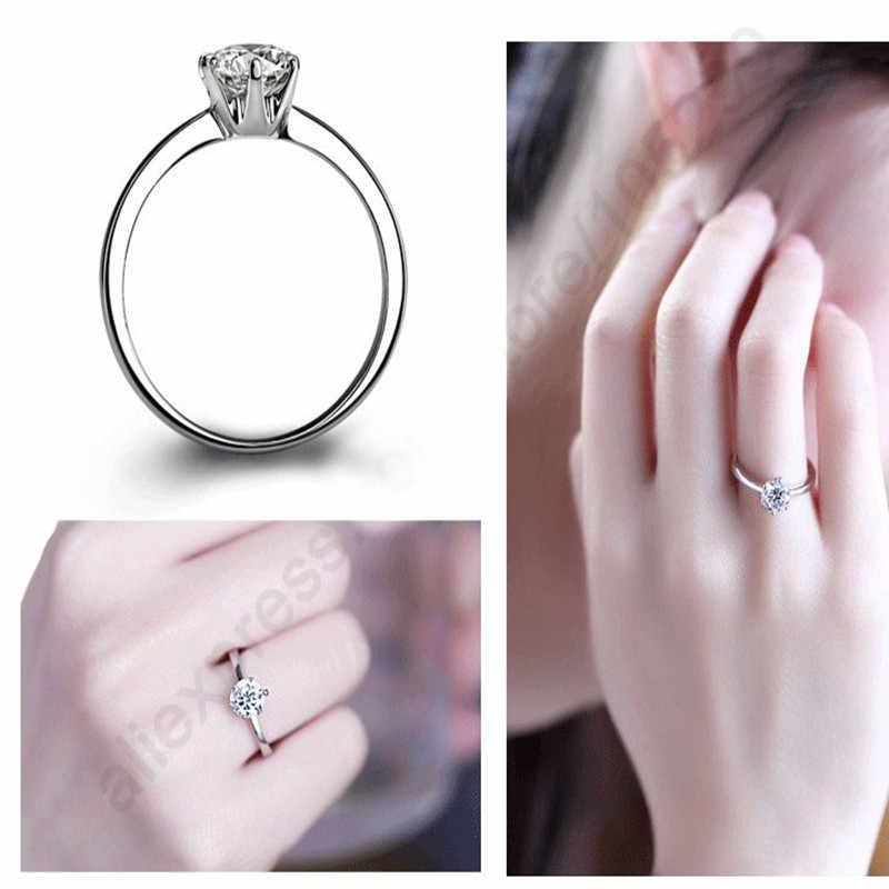 Elegant Classic Real 925 เงินสเตอร์ลิงแหวนนิ้วมือเครื่องประดับคริสตัล Cubic Zircons 6 กรงเล็บผู้หญิงแต่งงาน Anillos
