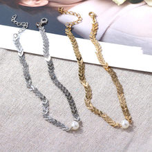 New Snake Chain Pearl Accessories Fashion Jewelry Letter V Chain Pearl Jewelry Jewel Punk Necklace Female Elegant Necklace(China)