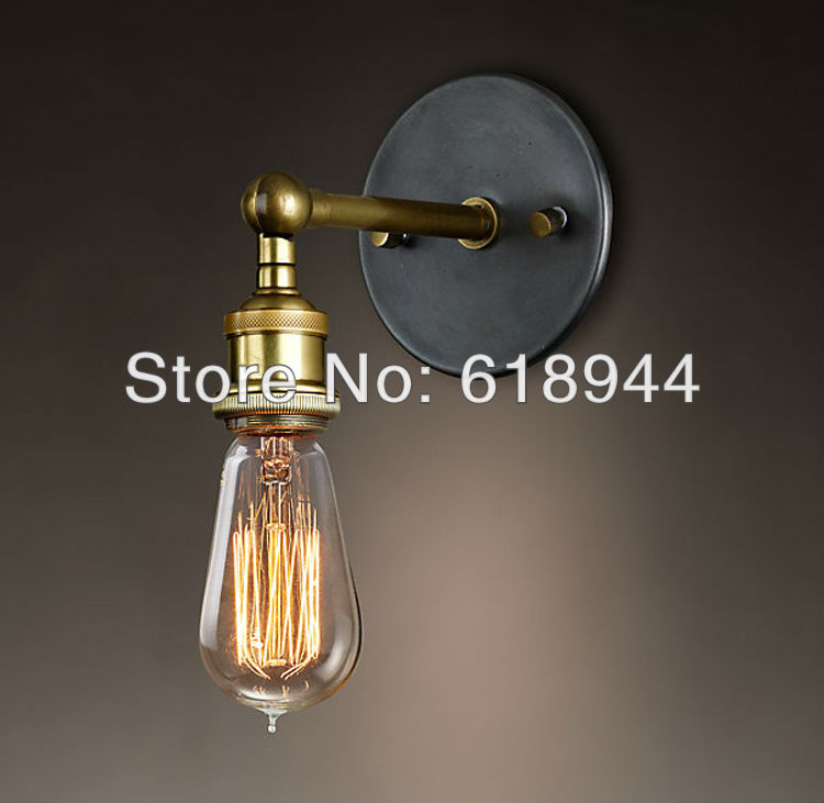 ФОТО 2013 NEW Vintag Copper Edison Light Bulb with Vintage Style Brass Wall Lamps for Bathroom Lighting