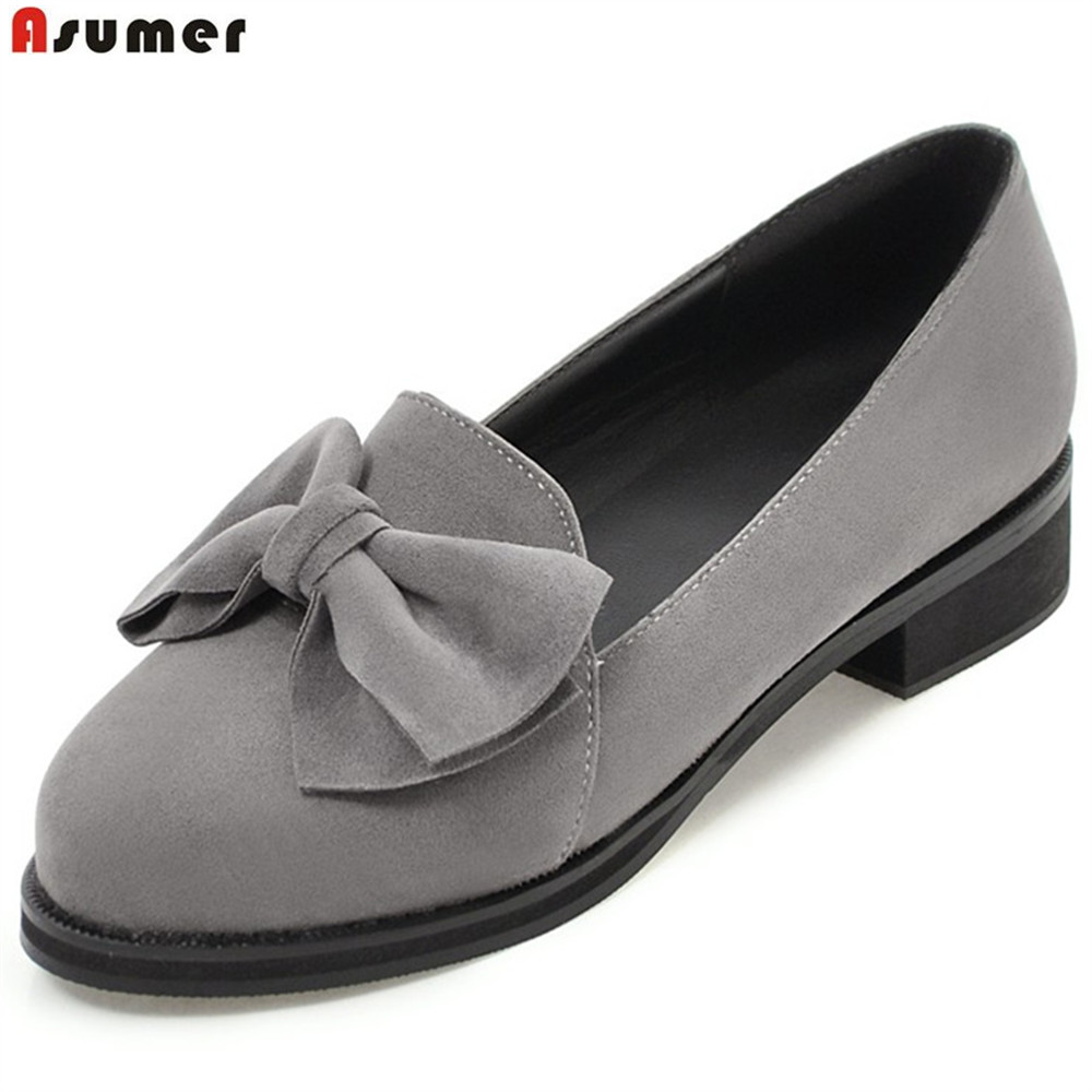 ASUMER black gray beige fashion spring autumn shoes woman round toe shallow casual square heel shallow flock low heels shoes asumer red black fashion spring autumn shoes woman round toe shallow casual square heel patent leather women low heels shoes