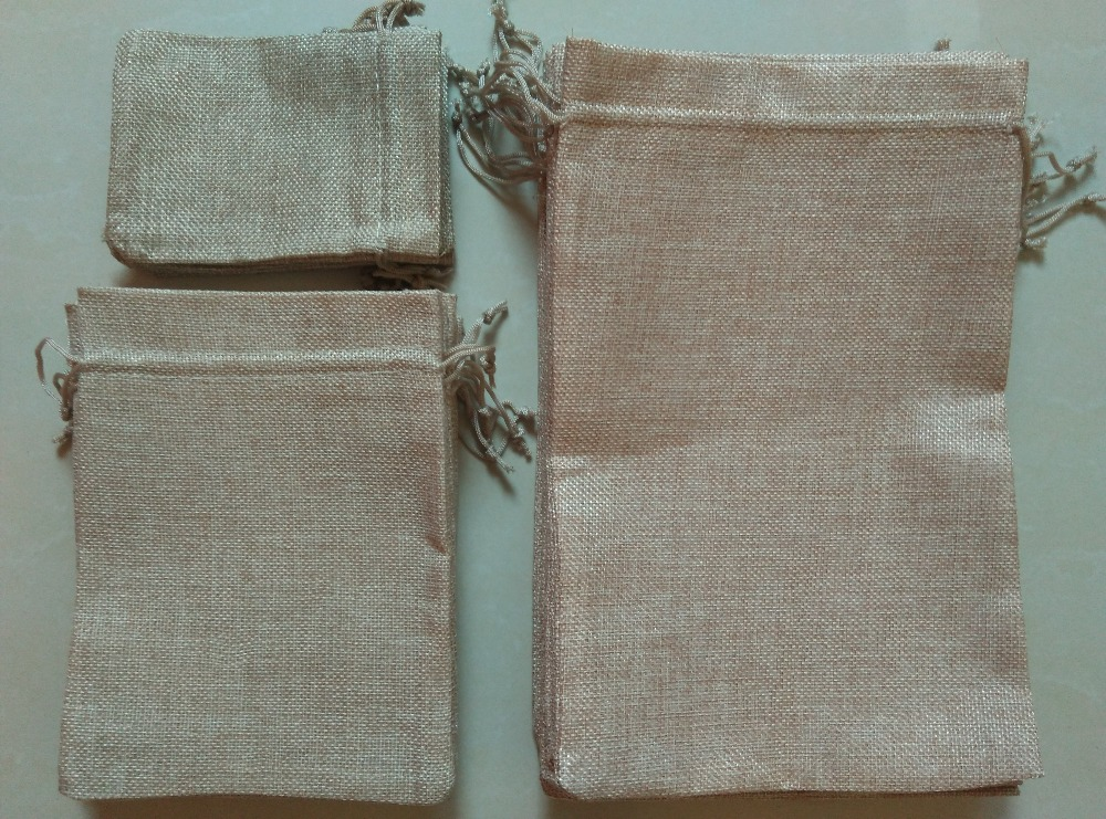 Hot 5pcs/lot 7x9cm 10x14cm 13x18cm 15x20cm 20x30cm Mini Jute Pouch linen Hessian hemp drawstring small gift Linen Jute Sack